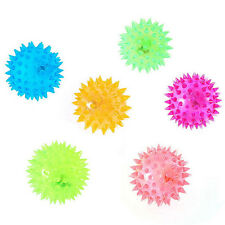 Dog Puppy Cat Pet LED Squeaky Rubber Chewing Bell Ball Hedgehog Fun Toys Little