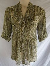 APT. 9 Womens PLUS 1X (16W-18W) GREEN PAISLEY Button Front SHEER Blouse Shirt SS