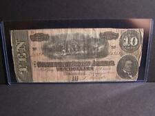 1864 Fine $10 Confederate States Of America Bill (Rare Currency !. Lot 110