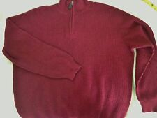 LL BEAN 100% CASHMERE SWEATER Burgandy 1/4 Zip Mockneck Pullover  MENS L-XL 51""