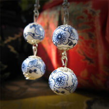 Trendy Blue White Charm Flower Jewelry Ceramics Beads Handcrafted Drop Earrings