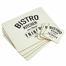 Set of 4 Placemats & Coasters Bistro Kitchen Tribeca Dinner Table Setting Mats