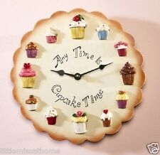 "RESIN WALL CLOCK ""ANY TIME IS CUPCAKE TIME"" NOVELTY GIFT SHABBY CHICK KITCHEN"