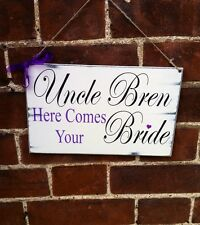 Distressed chic Shabby'Here Comes the Bride' personalised wedding sign gift
