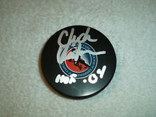 Chuck Kaiton Hand Signed Hall Of Fame Logo Puck Inscribed HOF 04 Hurricanes