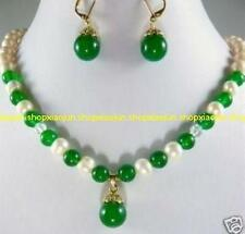 GENUINE 7-8MM White Pearl &green Emerald Necklace Earring Set 18''