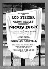 """Rod Steiger """"MOBY DICK"""" Orson Welles / Roy Poole 1962 FLOP Boston Tryout Flyer"""
