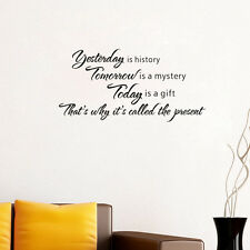 Yesterday is History Vinyl Quote Wall sticker Wall Words Letters Decor Art