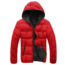 Men's Slim Casual Warm Jacket Hooded Winter Thick Coat Parka Overcoat Hoodie Red