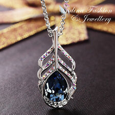 18K White Gold Filled Swarovski Element Peacock Feather Teardrop Necklace