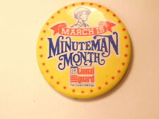 Large National Guard advertising pin:  March is Minuteman Month