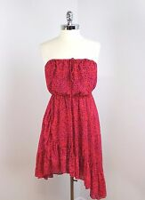 FREE PEOPLE - Size S - Red & Purple Print Asymmetric Strapless Summer Dress