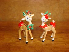 Set of 2 Vintage Lefton Reindeers #198-Boy & Girl With Bows on Tails