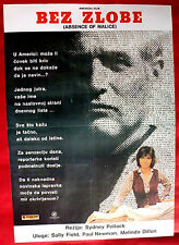 ABSENCE OF MALICE 1981 PAUL NEWMAN SALLY FIELD SIDNEY POLLACK EXYU MOVIE POSTER