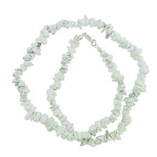 """HOWLITE 18"""" CHIP NECKLACE W/ SS SILVER CLASP A+ WHITE"""
