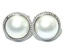 Genuine Mabe South Sea Pearls 14mm Solid 14k White Gold French Omega Earrings NR
