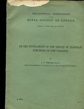 FIELDS, J. C. TWO OFFPRINTS on  .....THE THEORY OF ALGEBRAIC FUNCTIONS.......