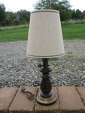 """Vintage Antique Farm Style 3-Way Table Lamp Turned Wood Brass Metal 11"""" Chain"""