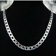 Wholesale 925 Sterling Silver Flat Sideways Men Chain Necklace 10MM 24inch N005