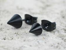 2pcs Metallic Black Spike Stainless Steel Unisex Stud Earrings Small Ear Jewelry