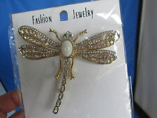 New Large Dragonfly Pin Brooch With Clear Crystal Accents & Green Crystal Eyes