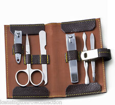 "MENS GIFTS -  ""CHELSEA MANOR""  6-PC MANICURE SET - BROWN LEATHER CASE"