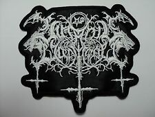 SATANIC WARMASTER  SHAPED  WHITE LOGO       EMBROIDERED PATCH