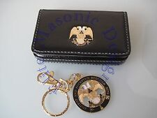 Masonic - 32nd Degree Scottish Rite Business Card or Dues Card Holder & Keychain