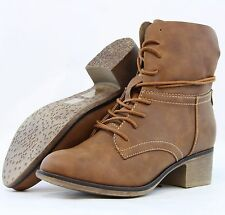Women Cowboy Cool Ankle Boots Almond toe Cuban Heels Lace up Booties Side Zipper