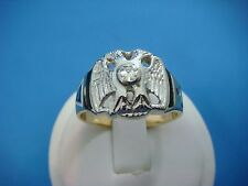 14K SOLID YELLOW AND WHITE GOLD MEN'S VINTAGE MASONIC RING WITH GENUINE DIAMOND