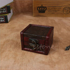 Vintage Small Wooden Lock Jewelry Holder Storage Bracelet Necklace Box Case Gift
