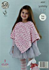 KNITTING PATTERN Girls Easy Knit Garter Stitch Poncho Yummy Chunky 4537