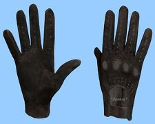 NEW WOMENS size 7.5 BLACK GENUINE SUEDE LEATHER DRIVING GLOVES adjustable wrist