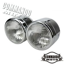 "Sportbike Motorcycle Chrome 4"" Twin Round Headlight Double Dominator Bulb Lamp"