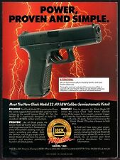 1991 GLOCK Model 22 Semi-auto Pistol Ad ADVERTISING Power Proven and Simple