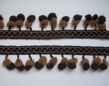 Double Brown Mini Twin Pom Pom Two Color Ball Dangling Fringe Trim Woven Braid