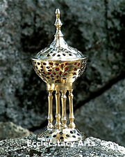 "Brass Byzantine Pedestal Censer Burner 8"" H, Incense-Resin-Cones-Charcoal {:-)"
