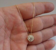 14K YELLOW GOLD NECKLACE PENDANT W/ 1 CARAT DIAMONDS / CHAIN 18'' LONG/STUNNING!