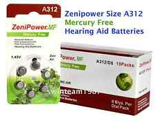 60 Zenipower Hearing Aids Aid Batteries Size 312 Mercury Free NEW Expire 2019