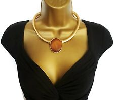 Beautiful Large Wood Look Oval Pendant & Choker Necklace Gold Tone  Snake Chain