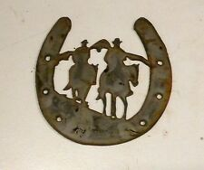 "6"" Cowboys & Horses in Horseshoe Rusty Rough Metal Wall Art Vintage Craft Sign"