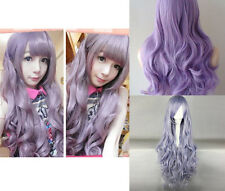 Smoke Purple Sexy Bang Long Curly Lady Girl Anime Cosplay Wavy Full Wig Hair Wig