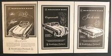 1958 MERCEDES BENZ ADS SET OF 3 190SL 300SL 220S AUTHENTIC NO REPRODUCTIONS