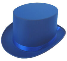 BLUE SATIN TOP HAT WITH RIBBON FANCY DRESS PARTY