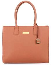 Joy Mangano & Iman Genuine Leather Hollywood Glamour Cognac Handbag- New