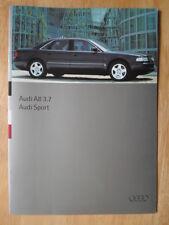 Audi A8 Saloon 3,7 Litros & Sport 1995 1996 mercado del Reino Unido folleto de ventas