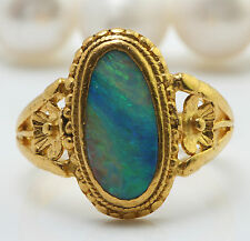 ANTIQUE .55CTW Natural Ethiopian Opal in 22K Solid Yellow Gold Ring