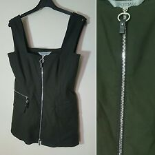 Sportmax Sport Max Mara Dark Olive Green Zip Detail Vest Top Size 36 UK 10  US 6