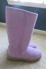 St. John's Bay Lavender Genuine Suede Leather Faux Fur Lined Boots Sz 7 M NEW