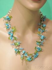 Vintate Miriam Haskell Poured Glass Necklace Floral Blue Green